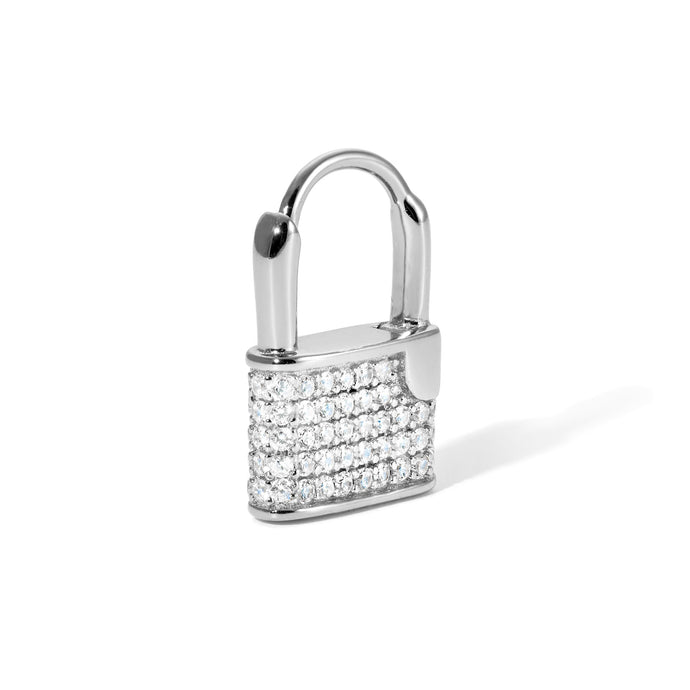 Padlock sterling silver pave earring