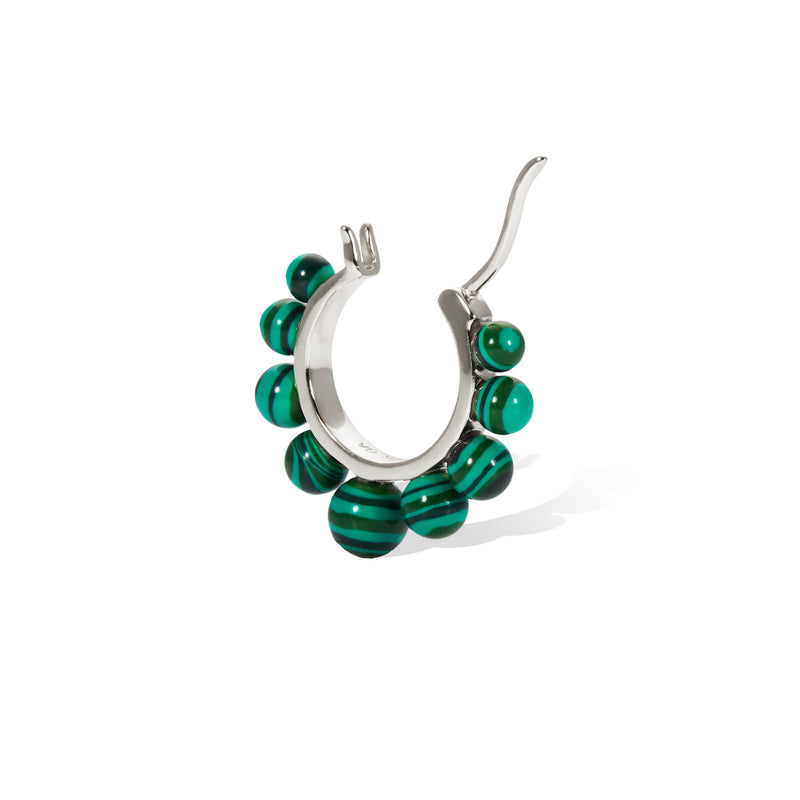 Tiara malachite sterling silver earring