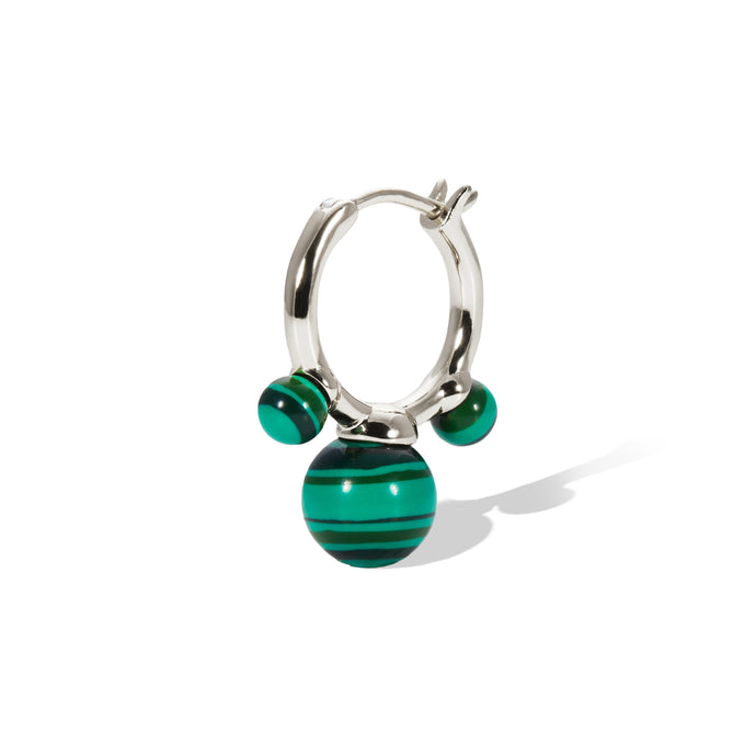 Maya malachite sterling silver earring