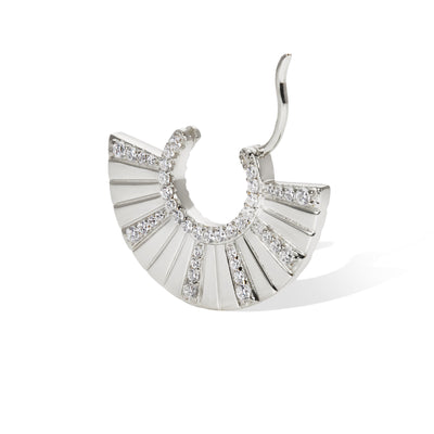 Fan Chinoise sterling silver earring