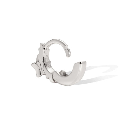 6.5 mm star sterling silver huggie