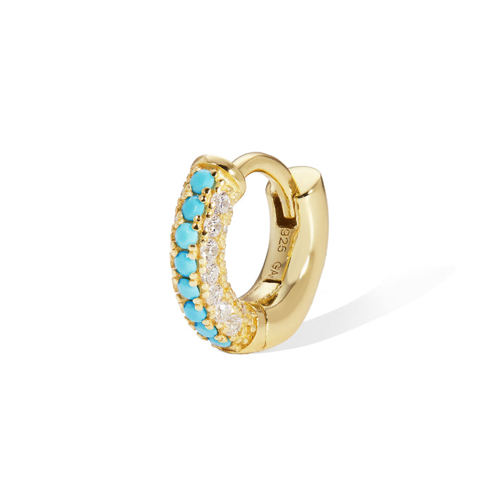 6,5 mm three rows pave gold vermeil turquoise huggie