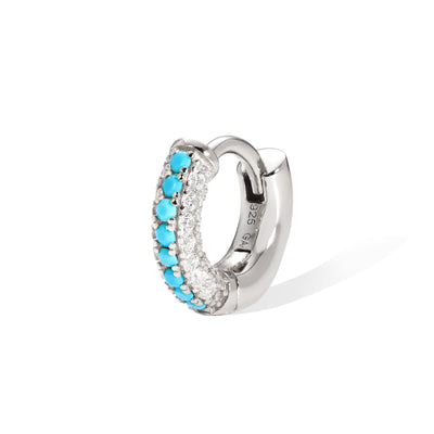 6,5 mm three rows pave sterling silver turquoise huggie