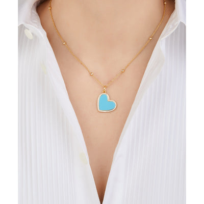 Heart gold vermeil turquoise charm