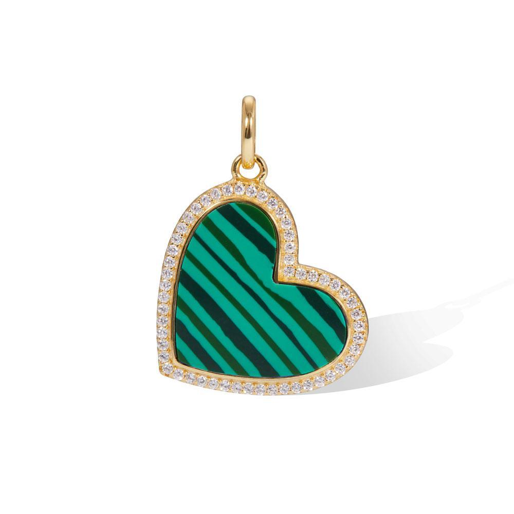 Heart gold vermeil malachite charm