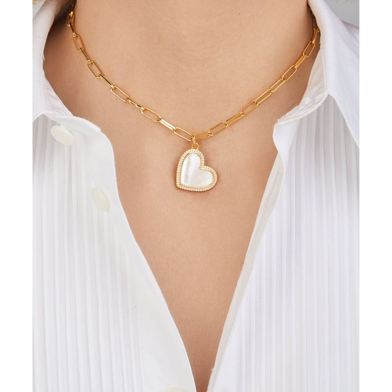 Heart gold vermeil mother of pearl charm