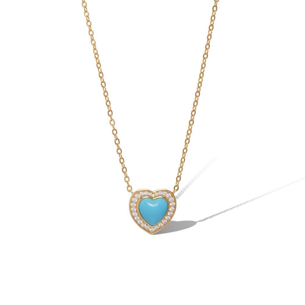 Heart turquoise gold vermeil necklace