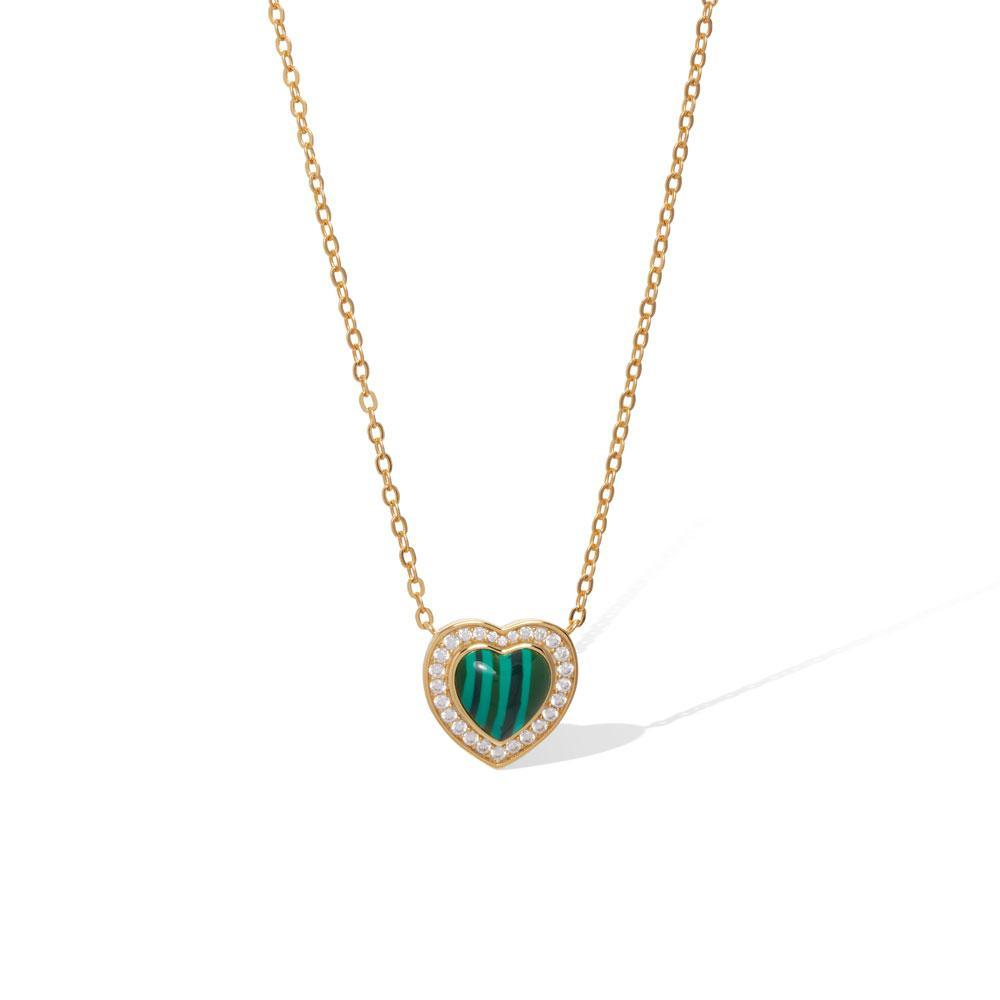 Heart malachite gold vermeil necklace