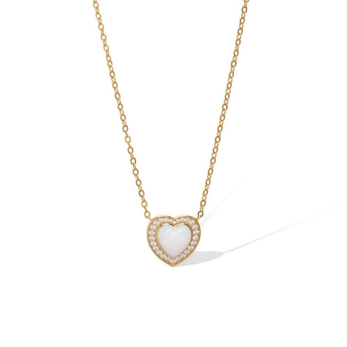 Heart opal gold vermeil necklace