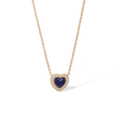 Heart lapis gold vermeil necklace