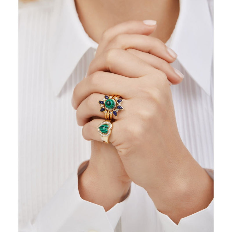 Dalia lapis & malachite gold vermeil rings set