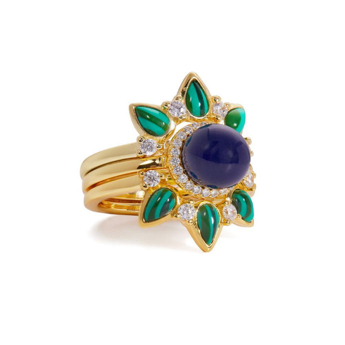 Dalia malachite & lapis  gold vermeil rings set