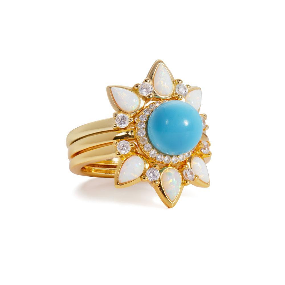 Image of Dalia opal & turquoise gold vermeil rings set