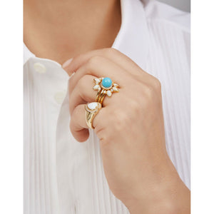 Dalia opal & turquoise gold vermeil rings set