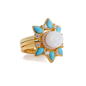 Dalia turquoise & opal gold vermeil rings set
