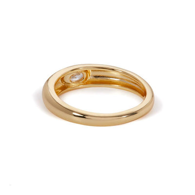 Lara band with white stone gold vermeil ring