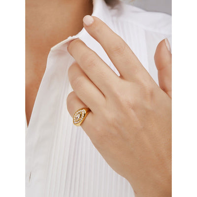 Evil eye gold vermeil signet ring