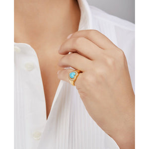 Heart turquoise gold vermeil signet ring