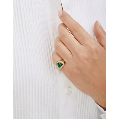 Heart malachite gold vermeil signet ring