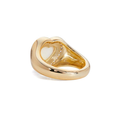 Heart opal gold vermeil signet ring