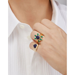 Heart lapis gold vermeil signet ring