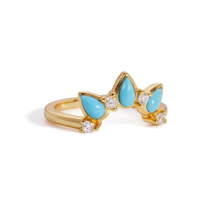 Poire turquoise gold vermeil ring