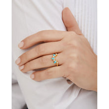 Load image into Gallery viewer, Poire turquoise gold vermeil ring