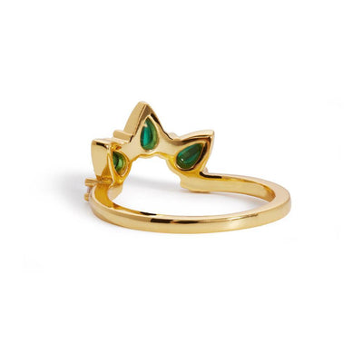 Poire malachite gold vermeil ring