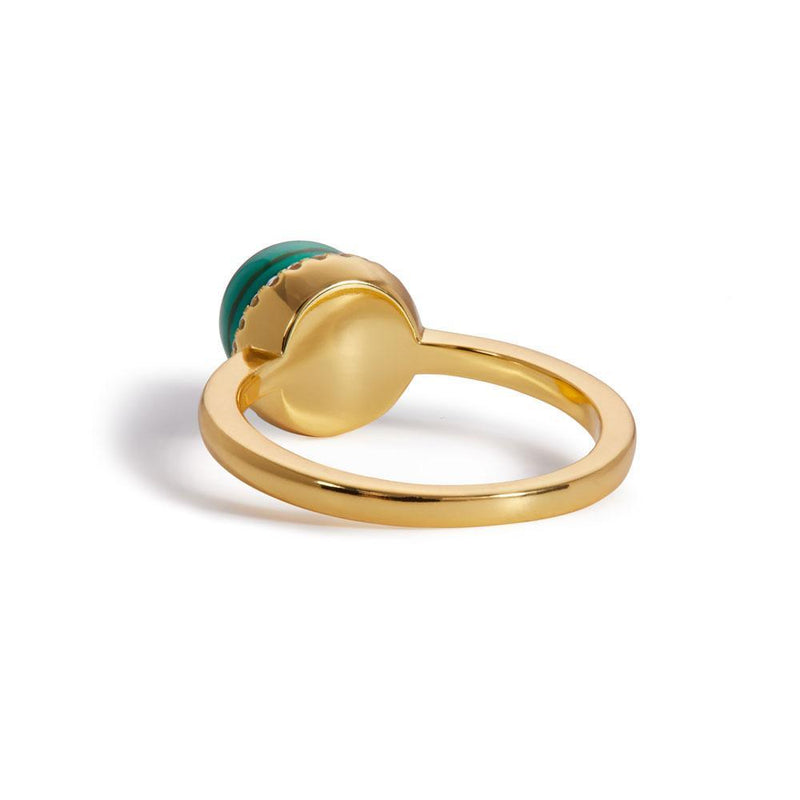 Ball malachite gold vermeil ring