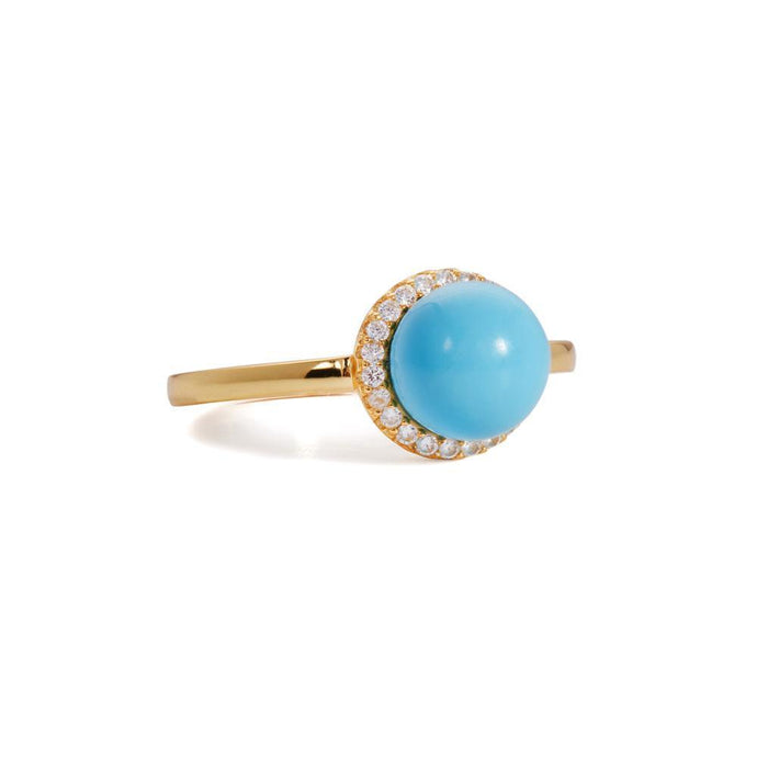 Ball turquoise gold vermeil ring