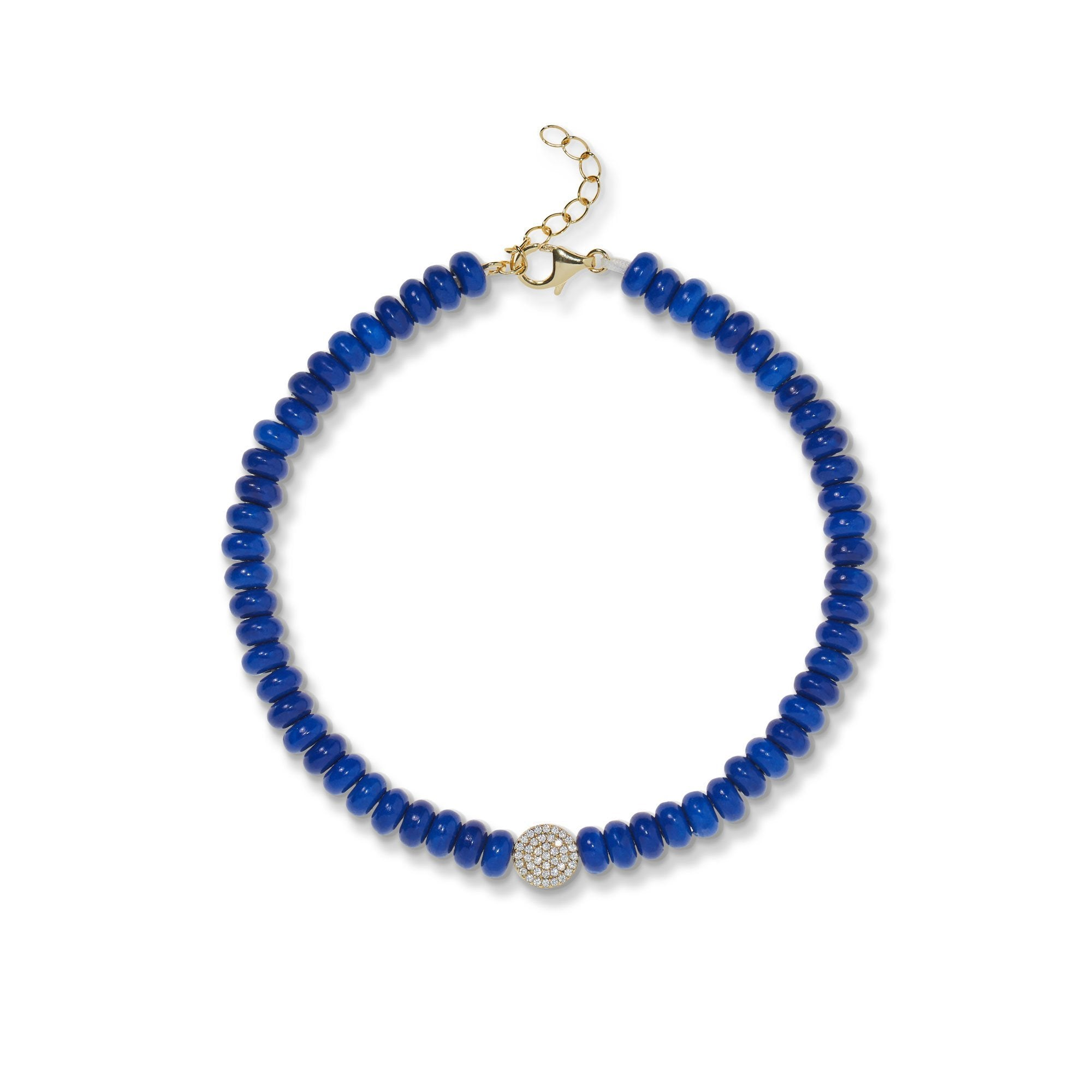 Image of 6,5 mm lapis bead anklet
