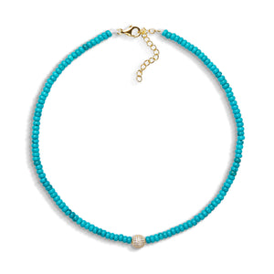 4,5mm turquoise bead necklace