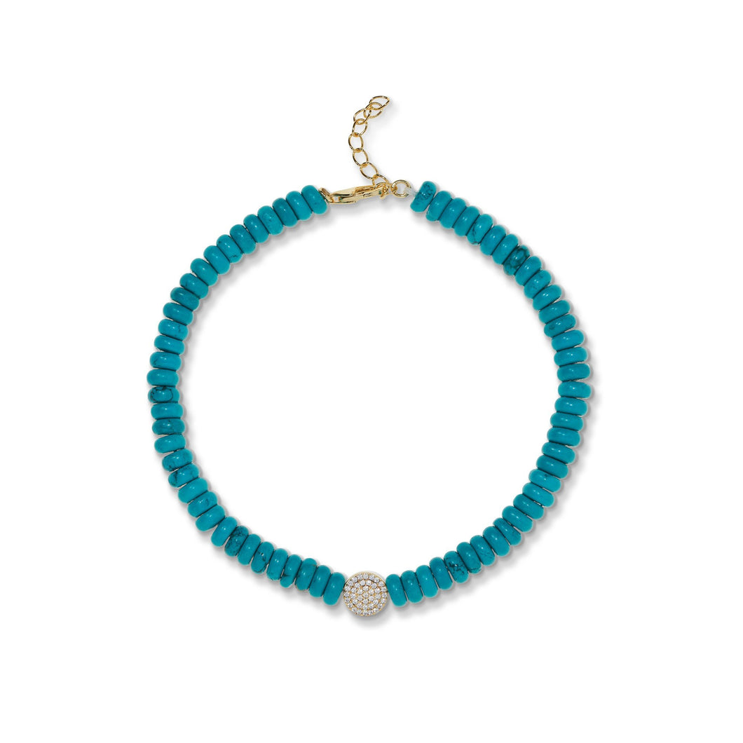 6,4 mm turquoise anklet