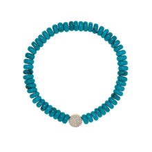 Load image into Gallery viewer, 6,4 mm turquoise bead bracelet
