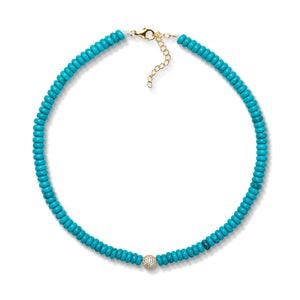 6,4mm turquoise bead necklace