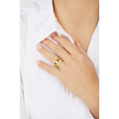 Catena ID pave chain gold vermeil ring