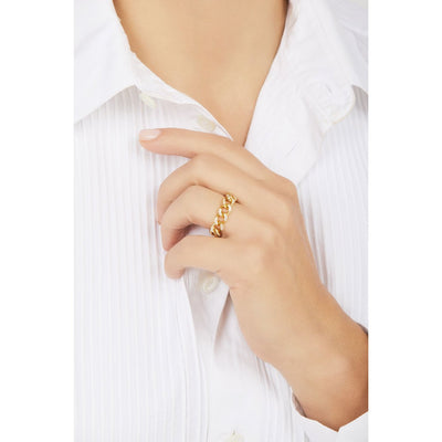 Catena pave chain gold vermeil ring