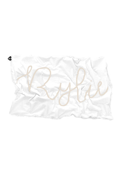 Woolf With Me Organic Personalized Baby Blanket Cursive Large Center color_black
