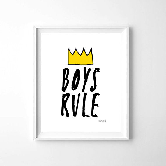 Wall Art Boys Rule, 8x10 - Woolf With Me®