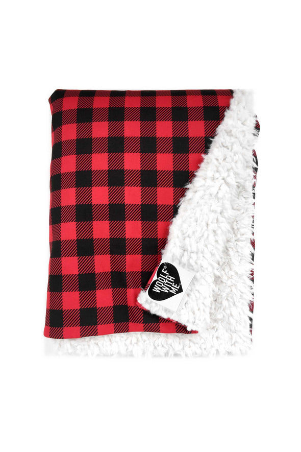 Organic Baby Blanket Small Buffalo Checks color_bright-red