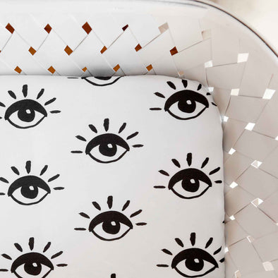 Woolf With Me Fitted Crib Sheet Eye color_cream