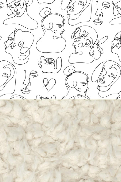 Woolf With Me Organic Baby Blanket Female Line Art color_white