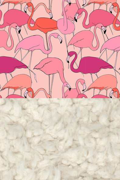 Woolf With Me Organic Baby Blanket Flamingos color_pale-pink