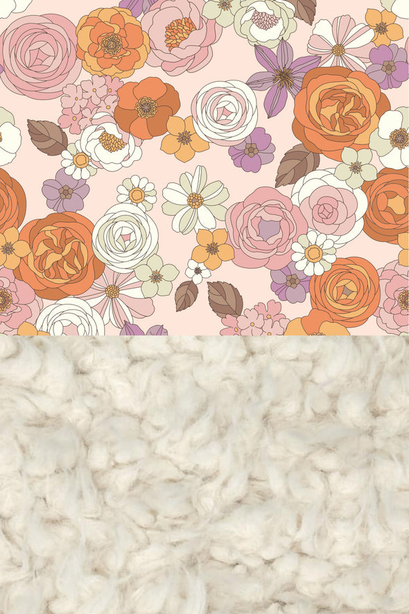 Woolf With Me Organic Baby Blanket Groovy Floral color_pale-blush