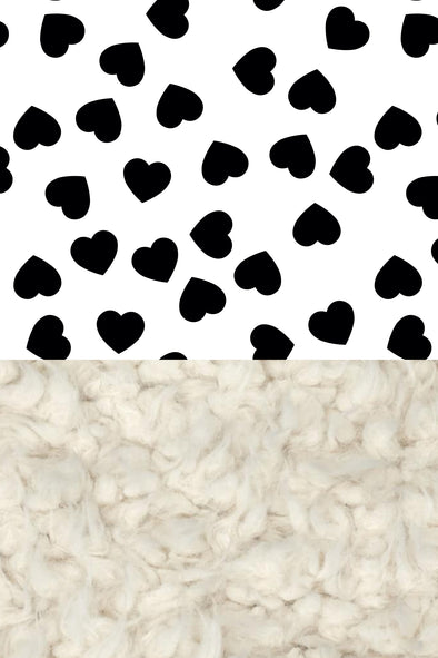 Woolf With Me Organic Baby Blanket Hearts color_black