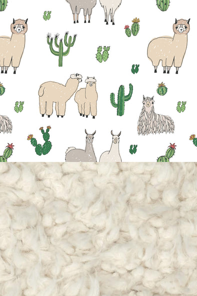 Woolf With Me Organic Baby Blanket Llamas color_white