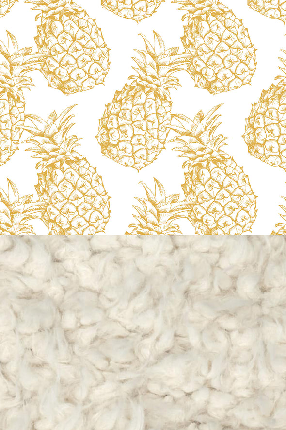 Woolf With Me Faux Fur Baby Blanket Organic Pineapples color_gold