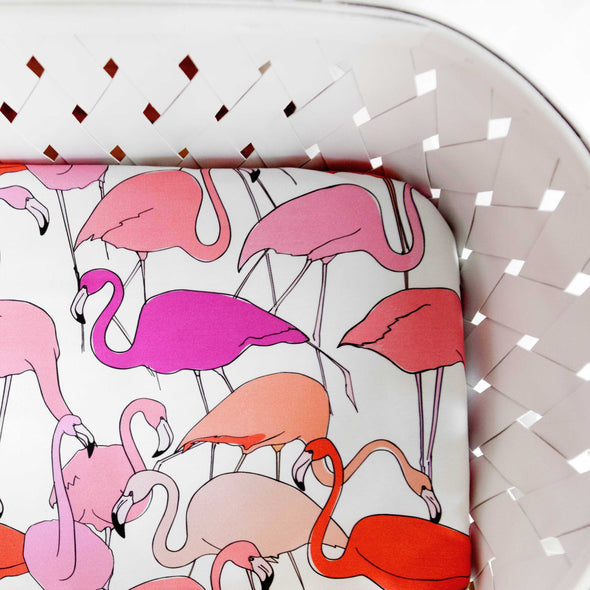 Woolf With Me Fitted Crib Sheet Flamingo color_white