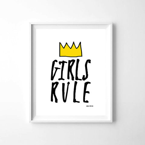 Wall Art Girls Rule, 8x10 - Woolf With Me®