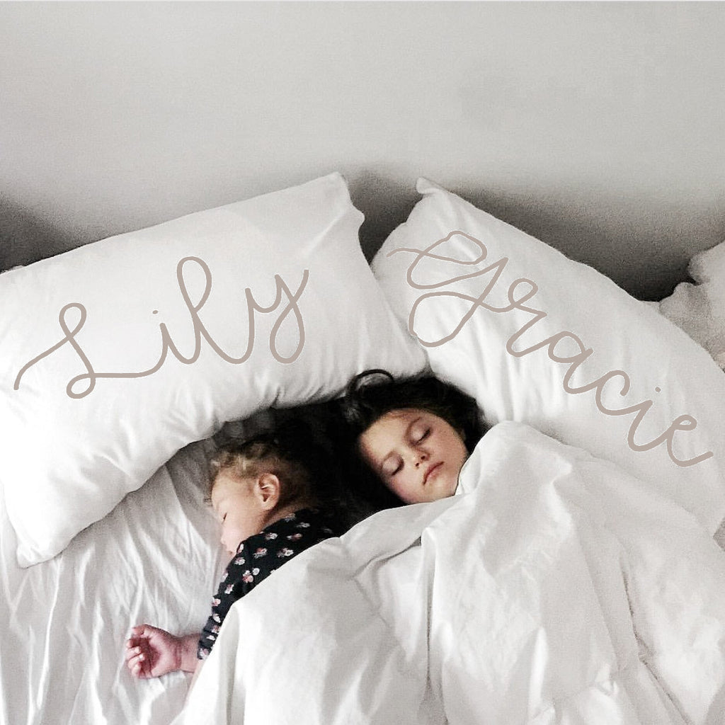 Organic Personalized Pillowcase, Cursive